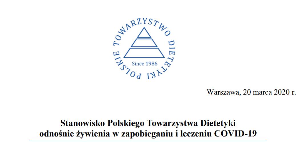 Stanowisko Polskiego Towarzystwa Dietetyki odnośnie żywienia w zapobieganiu i leczeniu COVID-19